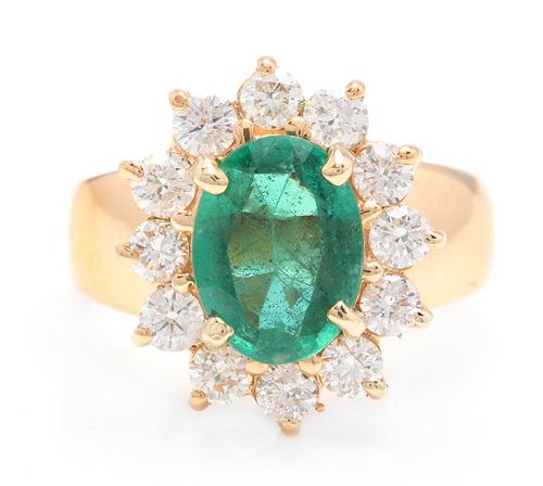 4.20ct Natural Emerald & Diamond 18k Solid Yellow Gold Ring