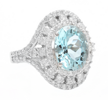 Load image into Gallery viewer, 6.00 Carats Natural Aquamarine and Diamond 14k Solid White Gold Ring