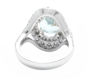 6.00 Carats Natural Aquamarine and Diamond 14k Solid White Gold Ring