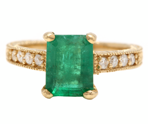 3.00ct Natural Emerald & Diamond 14k Solid Yellow Gold Ring