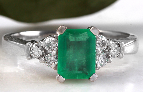 2.35ct Natural Emerald & Diamond 14k Solid White Gold Ring