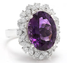Load image into Gallery viewer, 9.10 Carats Exquisite Natural Amethyst and Diamond 14K Solid White Gold Ring