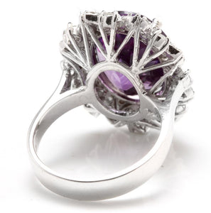 9.10 Carats Exquisite Natural Amethyst and Diamond 14K Solid White Gold Ring