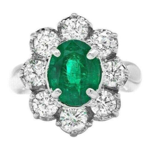 4.40ct Natural Emerald & Diamond 14k Solid White Gold Ring