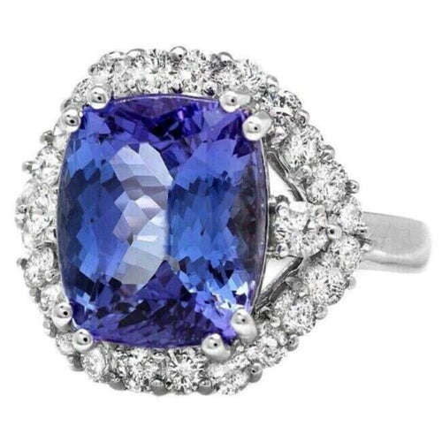 6.70 Carats Natural Tanzanite and Diamond 14k Solid White Gold Ring