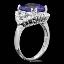 Load image into Gallery viewer, 6.70 Carats Natural Tanzanite and Diamond 14k Solid White Gold Ring