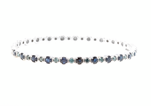 3.20ct Natural Blue Diamond & Sapphire 14k Solid White Gold Bracelet