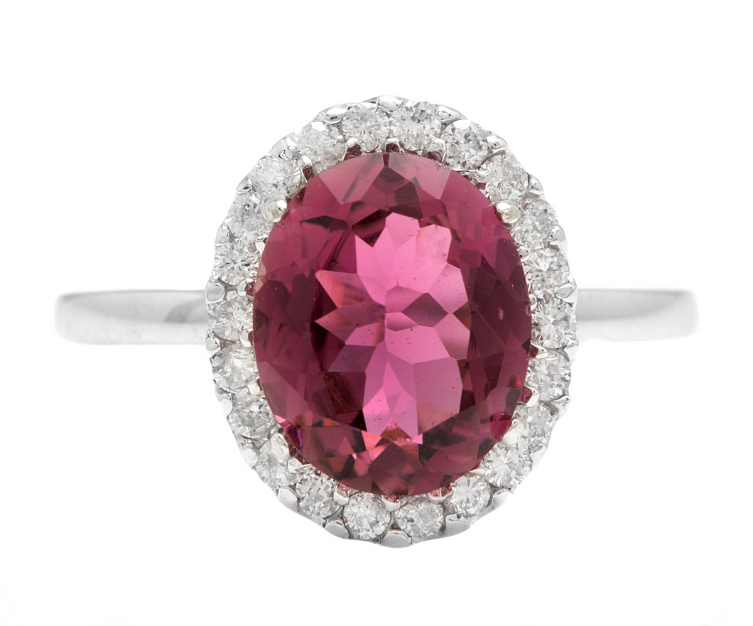 2.35 Carats Natural Tourmaline and Diamond 14k Solid White Gold Ring