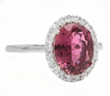Load image into Gallery viewer, 2.35 Carats Natural Tourmaline and Diamond 14k Solid White Gold Ring
