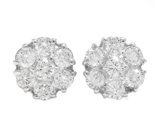 1.15ct Natural Diamond 14k Solid White Gold Earrings