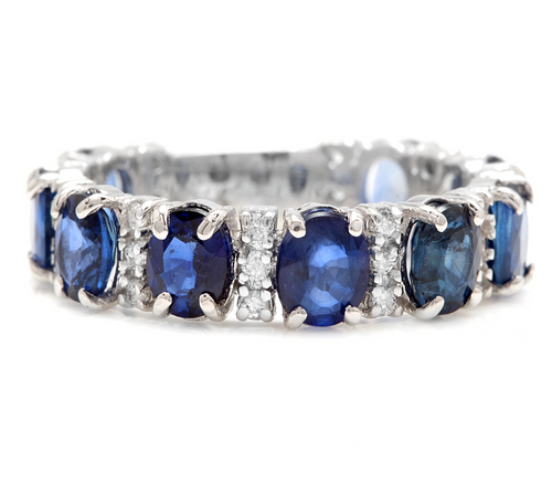 4.90ct Natural Blue Sapphire & Diamond 14k Solid White Gold Ring