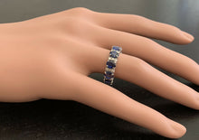 Load image into Gallery viewer, 4.90ct Natural Blue Sapphire & Diamond 14k Solid White Gold Ring