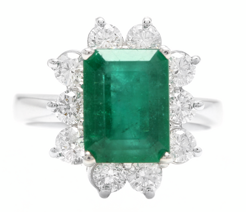 4.00ct Natural Emerald & Diamond 14k Solid White Gold Ring