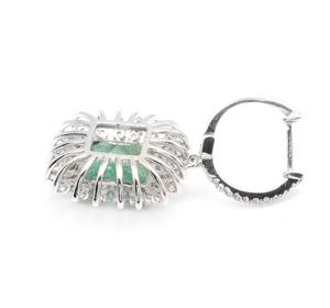 9.45 Carats Natural Emerald and Diamond 14k Solid White Gold Earrings