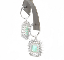 Load image into Gallery viewer, 9.45 Carats Natural Emerald and Diamond 14k Solid White Gold Earrings