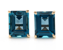 Load image into Gallery viewer, 6.00 Ct Natural London Blue Topaz 14k Solid Yellow Gold Stud Earrings