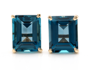 6.00 Ct Natural London Blue Topaz 14k Solid Yellow Gold Stud Earrings