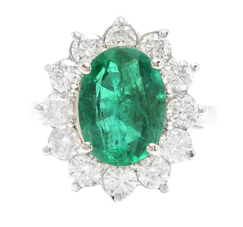 5.80ct Natural Emerald & Diamond 18k Solid White Gold Ring