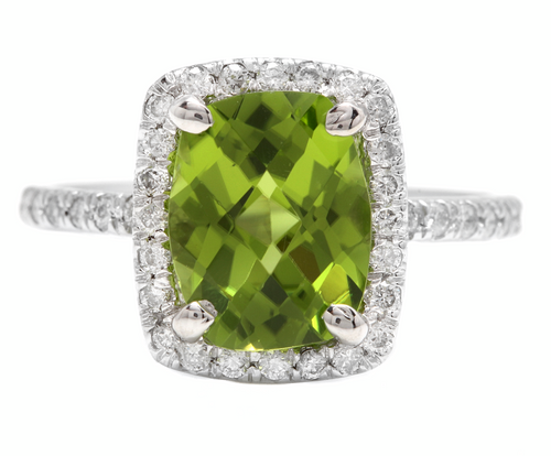 4.05 Carats Natural Peridot and Diamond 14k Solid White Gold Ring