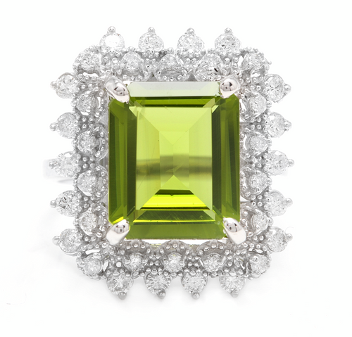 7.00 Carats Natural Peridot and Diamond 14k Solid White Gold Ring