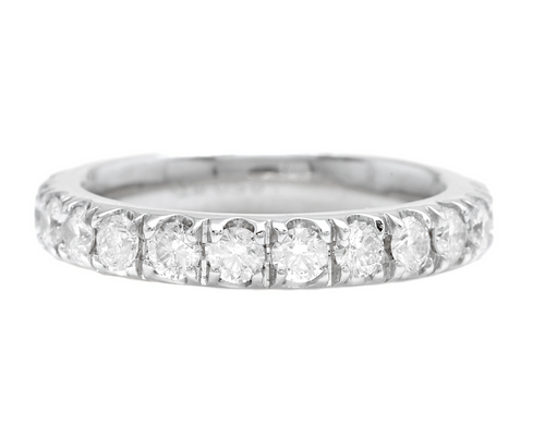 1.80 Carats Natural Diamond 950 Platinum Eternity Ring