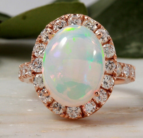 6.70ct Natural Ethiopian Opal and Diamond 14k Solid Rose Gold Ring