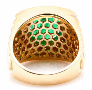 5.70ct Natural Emerald and Diamond 18k Solid Yellow Gold Men's Ring