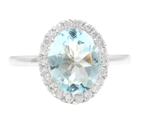 3.65ct Natural Aquamarine & Diamond 14k Solid White Gold Ring