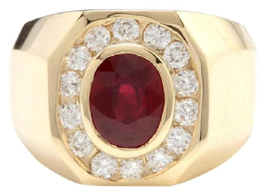 4.60 Carats Natural Ruby and Diamond 14K Solid Yellow Gold Men's Ring
