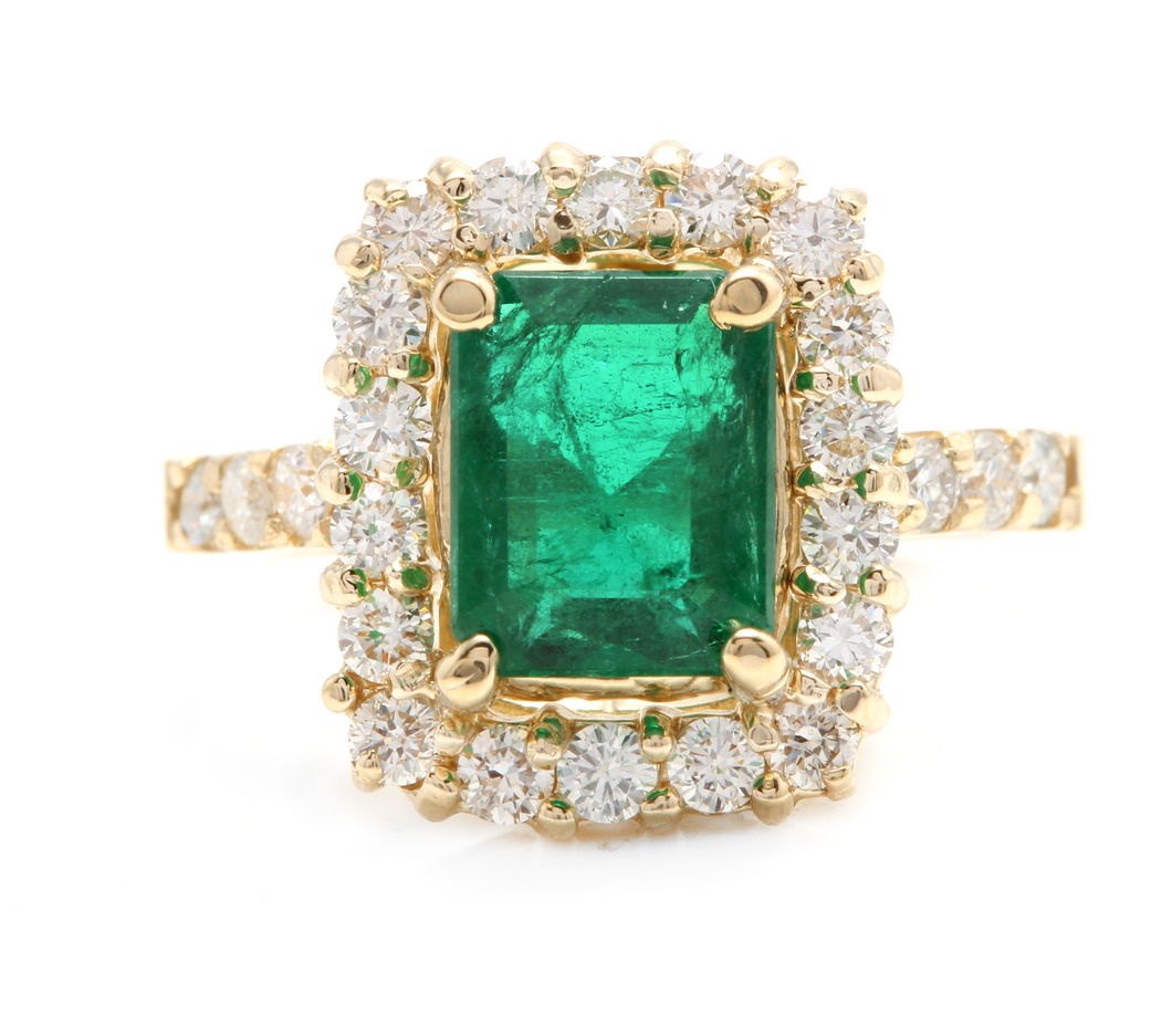4.10ct Natural Emerald & Diamond 14k Solid Yellow Gold Ring