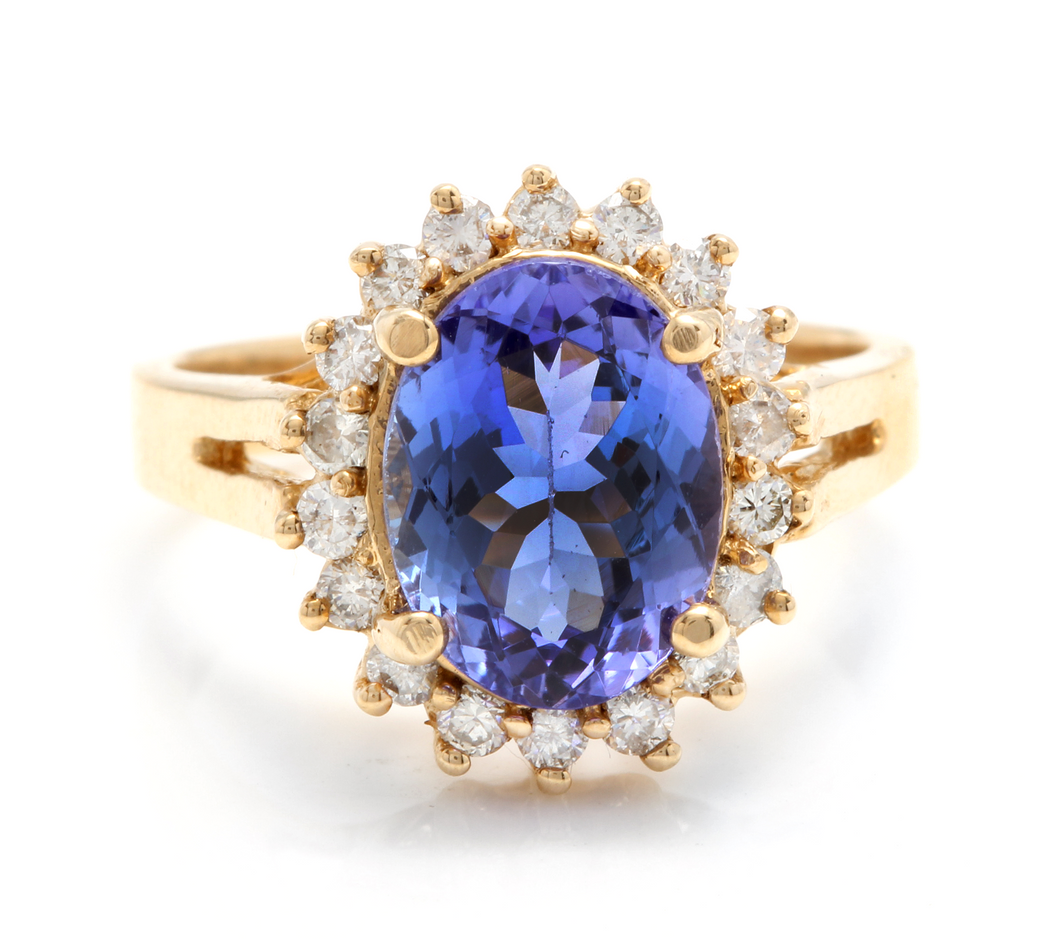 4.10 Carats Natural Tanzanite and Diamond 14k Solid Yellow Gold Ring