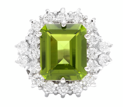 6.20 Carats Natural Peridot and Diamond 14k Solid White Gold Ring