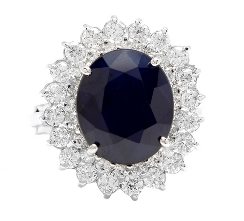 8.40ct Natural Blue Sapphire & Diamond 14k Solid White Gold  Ring