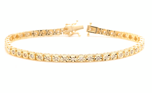 2.60 Carats Natural Diamond 14k Solid Yellow Gold Tennis Bracelet