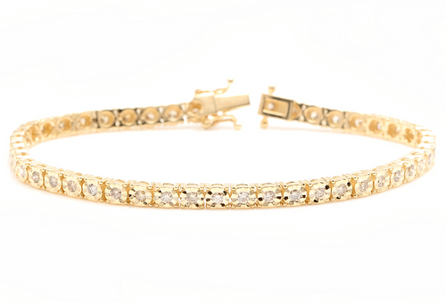 1.50 Carats Natural Diamond 14k Solid Yellow Gold Tennis Bracelet