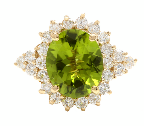 4.35 Carats Natural Peridot and Diamond 14k Solid Yellow Gold Ring