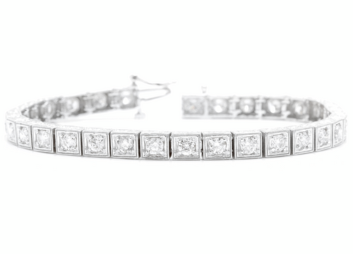 4.00 Carat Natural Diamond 14k Solid White Gold Bracelet