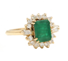 Load image into Gallery viewer, 1.60ct Natural Emerald & Diamond 14k Solid Yellow Gold Ring
