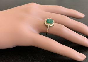 1.60ct Natural Emerald & Diamond 14k Solid Yellow Gold Ring
