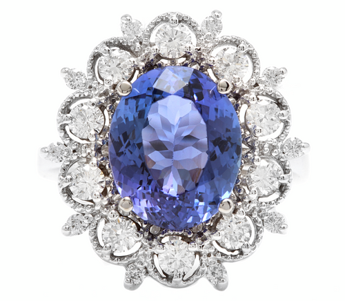 6.30 Carats Natural Tanzanite and Diamond 14k Solid White Gold Ring