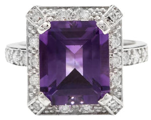 6.05 Carats Impressive Natural Amethyst and Diamond 14K White Gold Ring