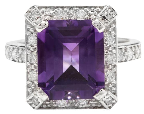 6.05 Carats Impressive Natural Amethyst and Diamond 18K White Gold Ring