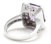Load image into Gallery viewer, 6.05 Carats Impressive Natural Amethyst and Diamond 14K White Gold Ring