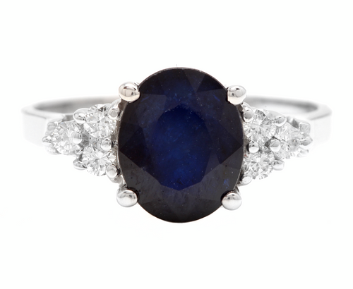 5.75ct Natural Blue Sapphire & Diamond 14k Solid White Gold Ring
