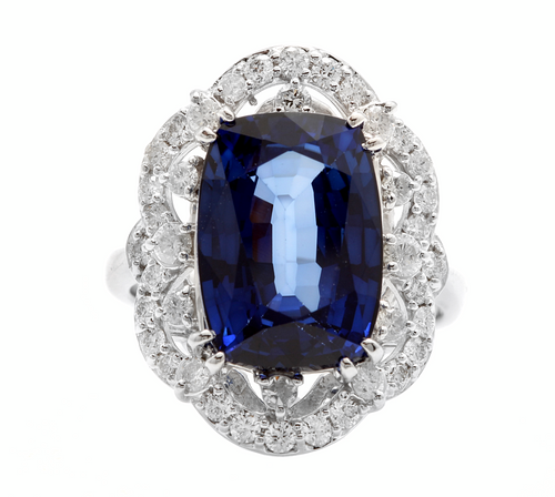 10.80ct Lab Ceylon Blue Sapphire & Natural Diamond 14k Solid White Gold Ring