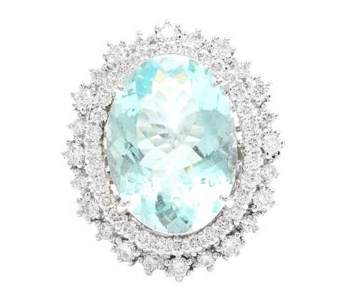 11.60ct Natural Aquamarine and Diamond 14k Solid White Gold Ring