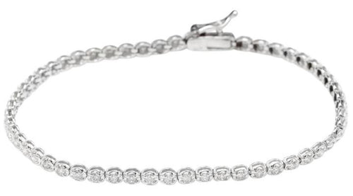 Very Impressive 1.15 Carats Natural Diamond 14K Solid White Gold Bracelet