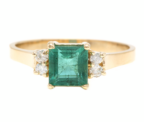 2.15ct Natural Emerald & Diamond 14k Solid Yellow Gold Ring