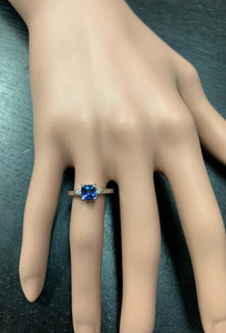 Natural Tanzanite and Diamond 14k Solid White Gold Ring