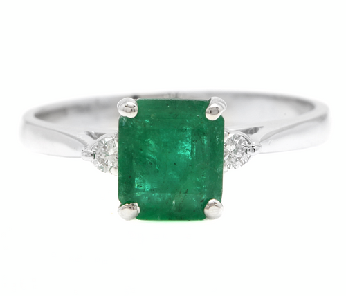 1.38ct Natural Emerald & Diamond 14k Solid White Gold Ring
